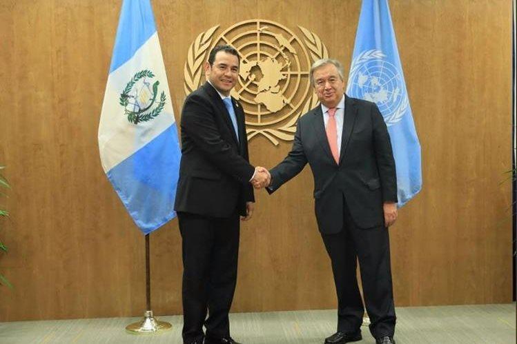 Morales y Guterres se reunieron en Nueva York para hablar de Cicig el 25 de septiembre. (Foto Prensa Libre: Hemeroteca PL)