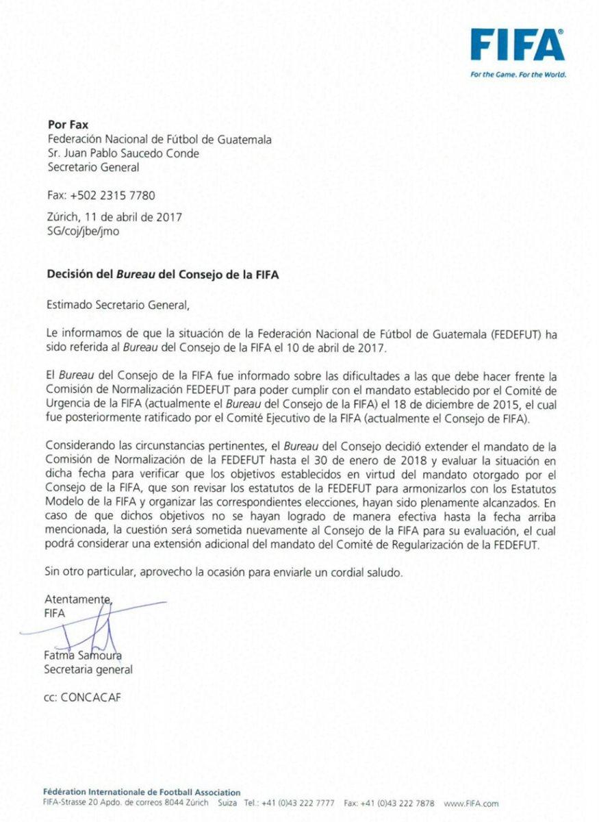 Este es el fax enviado por la Fifa al Comité de Normalización. (Foto Prensa Libre: Cortesía Fedefut)