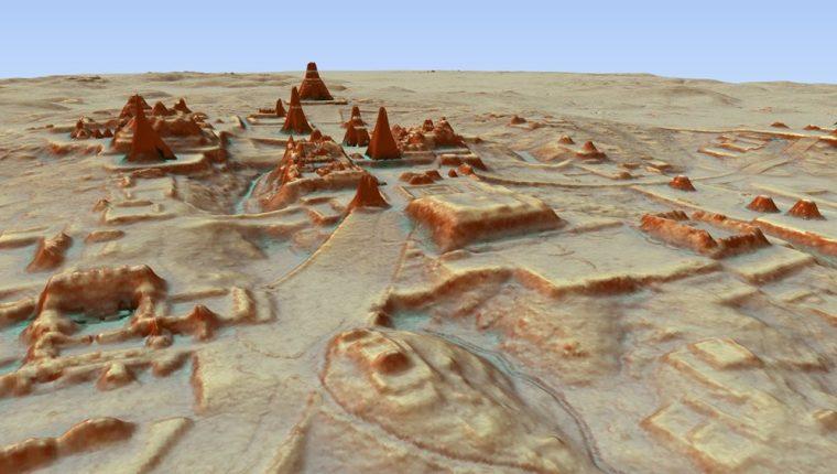 Imágenes obtenidas a través del uso de la tecnología LiDAR muestran estructuras de las ciudades mayas. (Foto Prensa Libre: Pacunam Lidar Initiative)