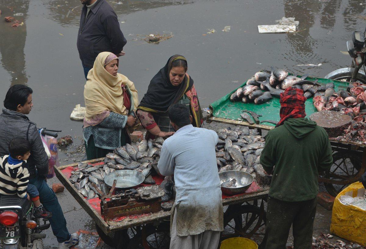 Tradicional día de mercado en Pakistán donde se ofrecen productos provenientes del mar. (Foto Prensa Libre: AFP).