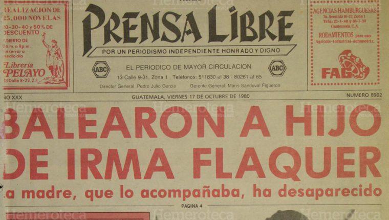 Portada de Prensa Libre donde se destacó la desaparición de Irma Flaquer. (Foto: Hemeroteca PL)