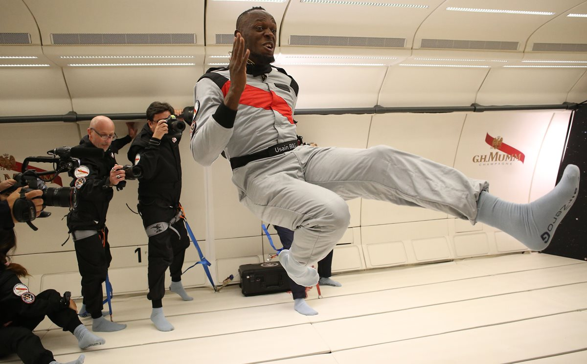 Usain Bolt vivió una grata experiencia sin gravedad. (Foto Prensa Libre: AFP)
