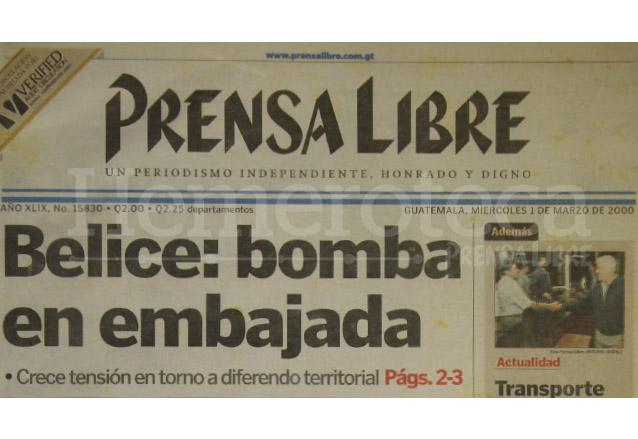 2000: atentado a embajada guatemalteca en Belice causa tensión