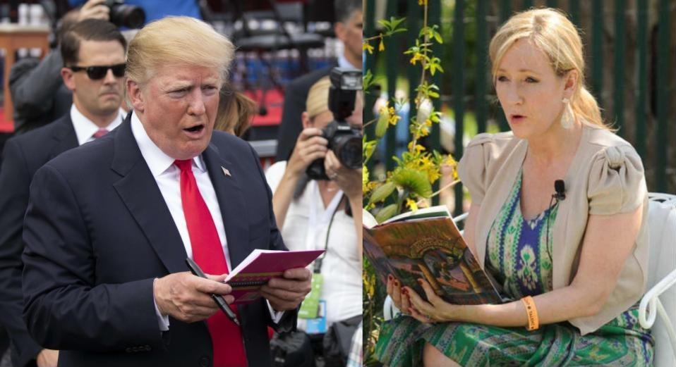 Donald Trump y J. K. Rowling se involucraron en una serie de tuits. ¿Quién ganó? (Foto Prensa Libre: AFP / EFE).