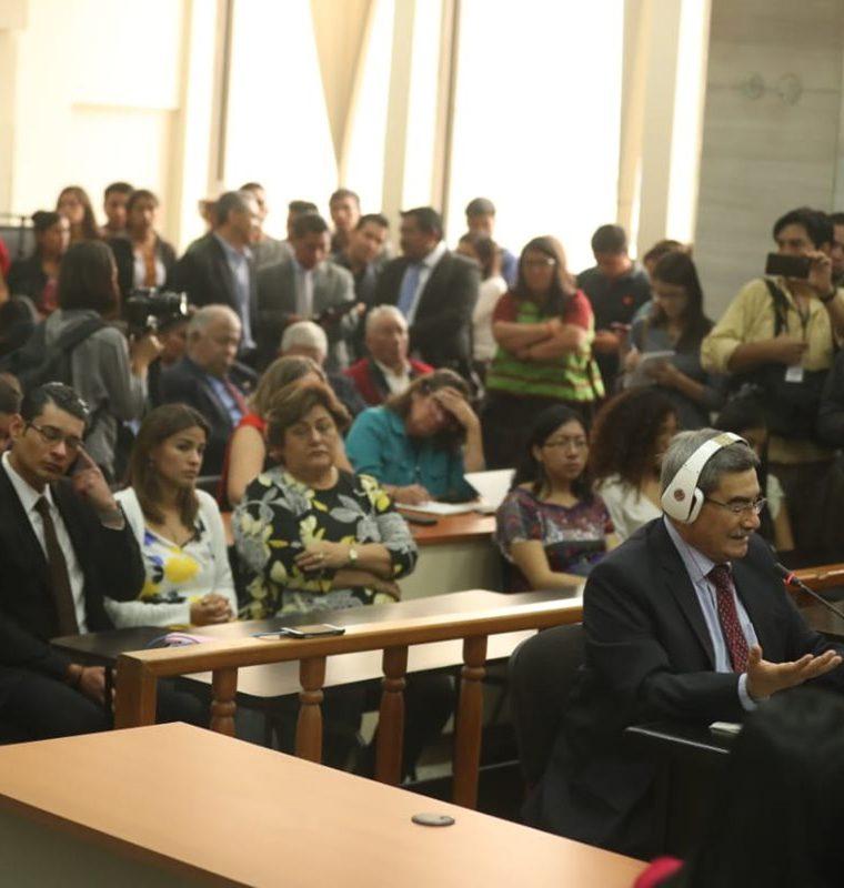 El general retirado, José Mauricio Rodríguez Sánchez, hizo su última petición antes de la sentencia por genocidio. (Foto Prensa Libre: Esbin García)