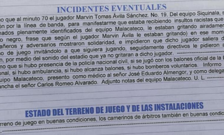 Este fue el reporte del Árbitro Raúl Antonio Gamarro, en el que evidencia los actos de racismo contra Ávila. (Foto Prensa Libre: Hemeroteca PL)