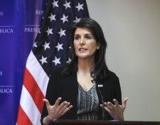 Embajadora de EE. UU. en la ONU, Nikki Haley, visitó Honduras durante dos días. (Foto Prensa Libre: EFE)