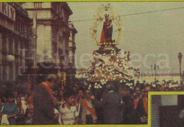 La Virgen del Socorro en su procesión de mayo de 1986.  (Foto: Hemeroteca PL)