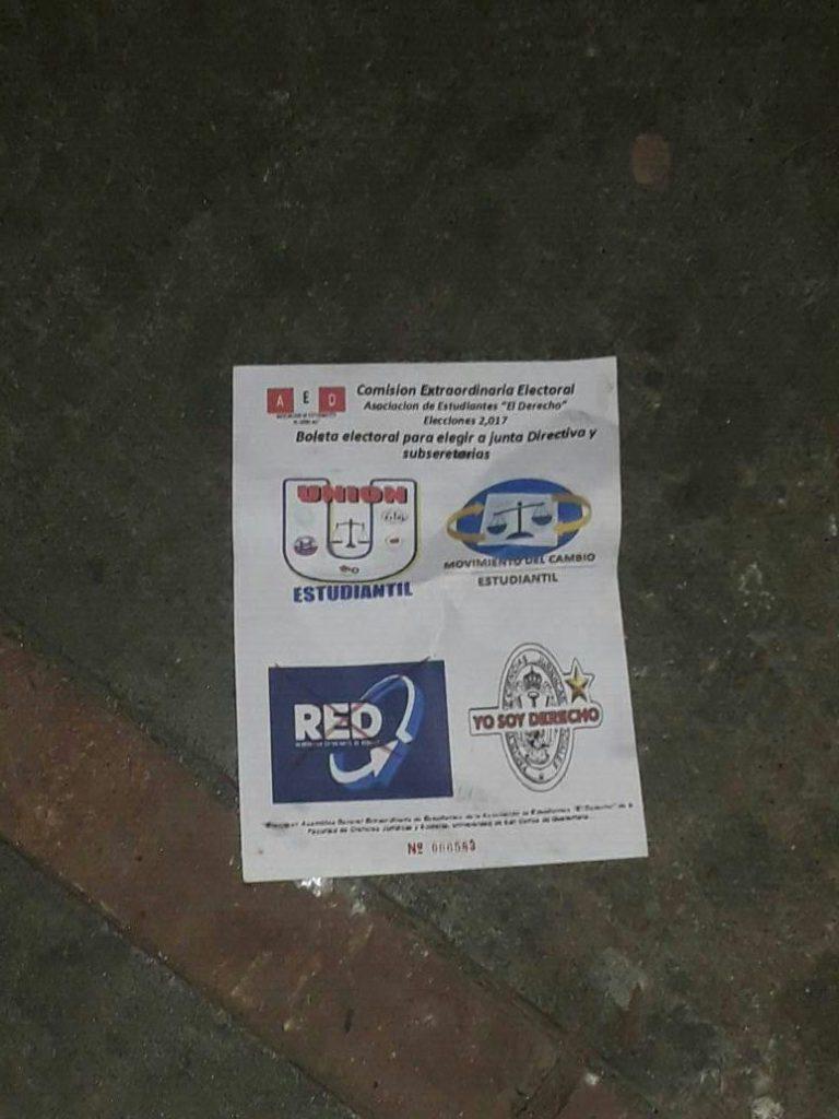 Una papeleta de las elecciones de la Asociación de Estudiantes de la Facultad de Derecho. (Foto Prensa Libre: Cortesía)