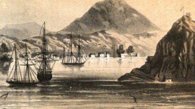El puerto de Amapala a mediados del siglo XIX.