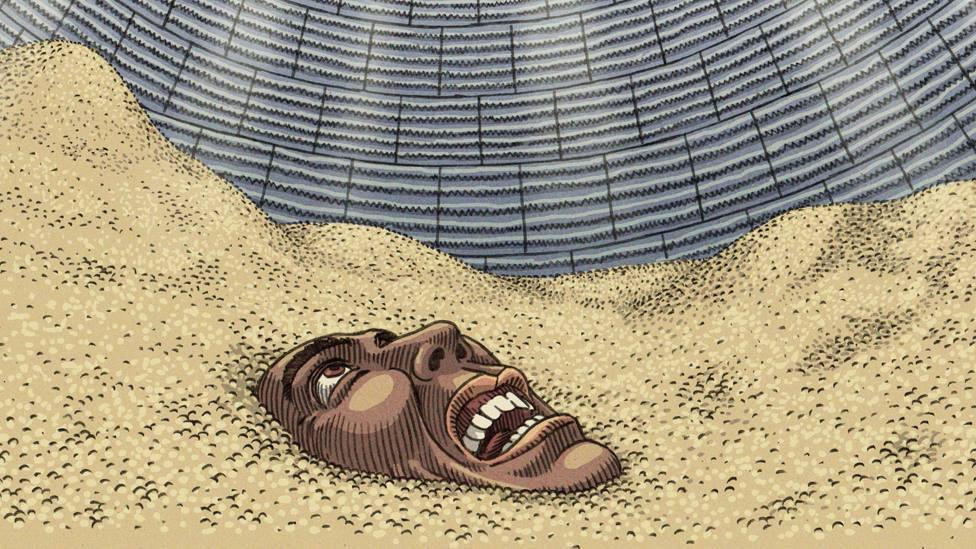 """El efecto """"arena movediza"""" es una de las principales causas de la muerte por soterramiento en los depósitos de granos. VITOR FLYNN/BBC NEWS BRASIL"""