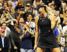 María Sharapova festejó con mucha emoción después de ganar su primer partido en el US Open. (Foto Prensa Libre: AFP)