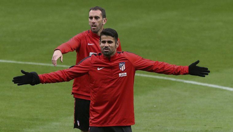El delantero Diego Costa se ejercitó ya con el Atlético de Madrid. (Foto Prensa Libre: EFE)