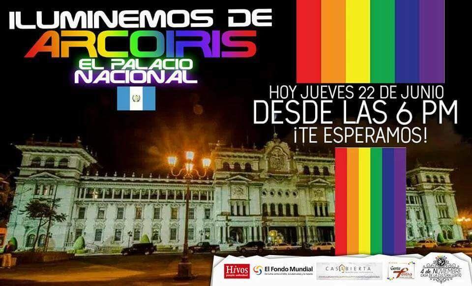 Convocatoria para iluminar el Palacio Nacional con la bandera de la diversidad sexual. (Foto Prensa Libre).
