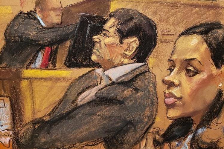 Imagen artística de Emma Coronel, quien ha acompañado en todas las audiencias a su esposo. (Foto Prensa Libre: EFE)