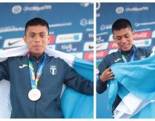 Williams Julajuj posa con la medalla de bronce y la bandera de Guatemala. (Foto Prensa Libre: Cortesía COG)