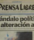 Portada de Prensa Libre del 3 de agosto de 2000 informando sobre el escándalo de alteración a ley de bebidas. (Foto: Hemeroteca PL)