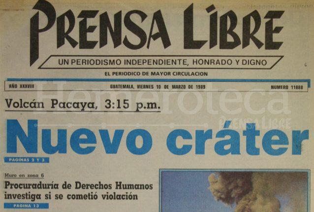 Titular de Prensa Libre del 10 de marzo de 1989. (Foto: Hemeroteca PL)