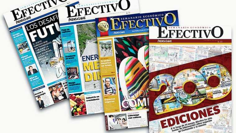Ediciones 1, 50 y 100 del semanario Efectivo. (Fotoarte: Hemeroteca PL)