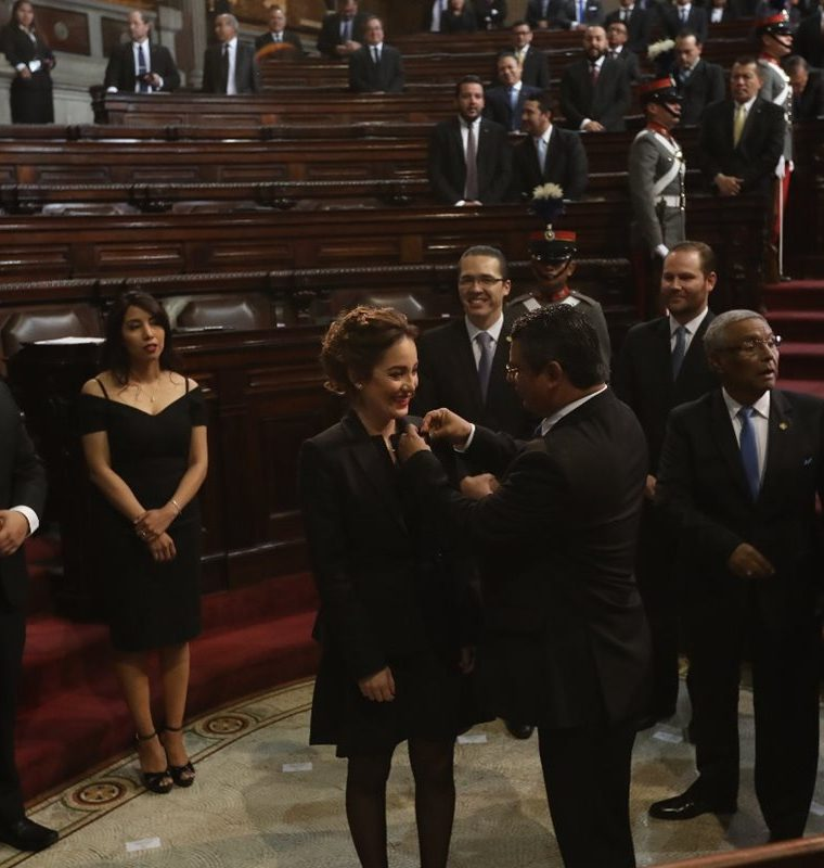 Alejandra Carrillo cuando fue juramentada tercera vicepresidenta del Congreso, el domingo 14 de enero. (Foto Prensa Libre: Hemeroteca PL).