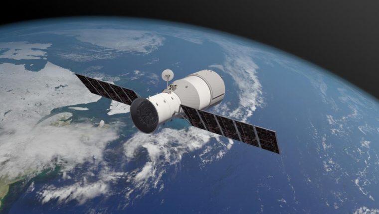 La estación espacial Tiangong 1 mide 12 metros y está sin control desde el 2016. (Foto Prensa Libre: The Aerospace Corportation)