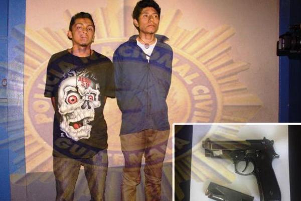 """Dos jóvenes fueron capturados por la PNC, sindicados de homicidio, pertenecen a la Mara 18. Foto: PNC<br _mce_bogus=""""1""""/>"""