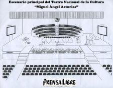 Forma en que se verá el Teatro Nacional durante la toma de posesión del nuevo gobierno. (Fotoarte Prensa Libre: Cortesía Congreso)