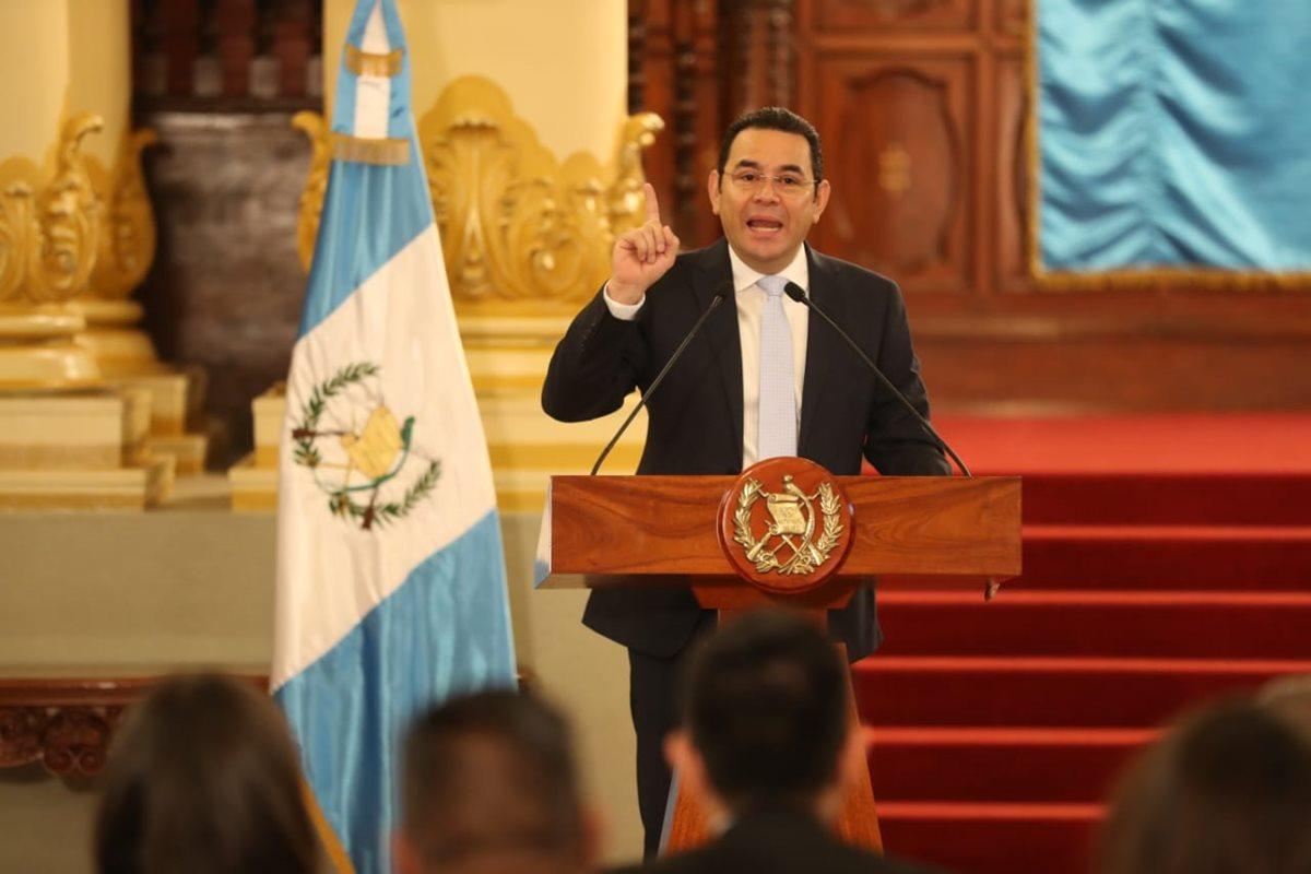 El presidente Jimmy Morales pidió que el próximo año hayan elecciones libres y sin injerencia. (Foto Prensa Libre: Esbin García)