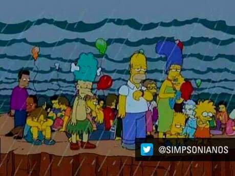 Algunos internautas compararon esta imagen de los Simpsons con la final del Mundial. Coincidieron en el clima lluvioso de esta tarde en Luzhniki. (Foto Prensa Libre: Redes Sociales)