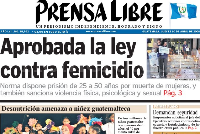 Titular de Prensa Libre del 10 de abril de 2008. (Foto: Hemeroteca PL)