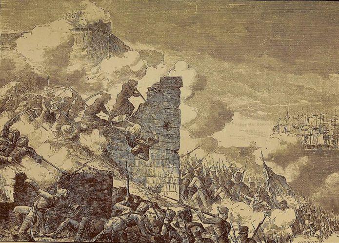 Grabado que representa el Asedio de Acre, el sitio francés de la ciudad amurallada defendida por los otomanos durante la invasión napoleónica de Egipto.