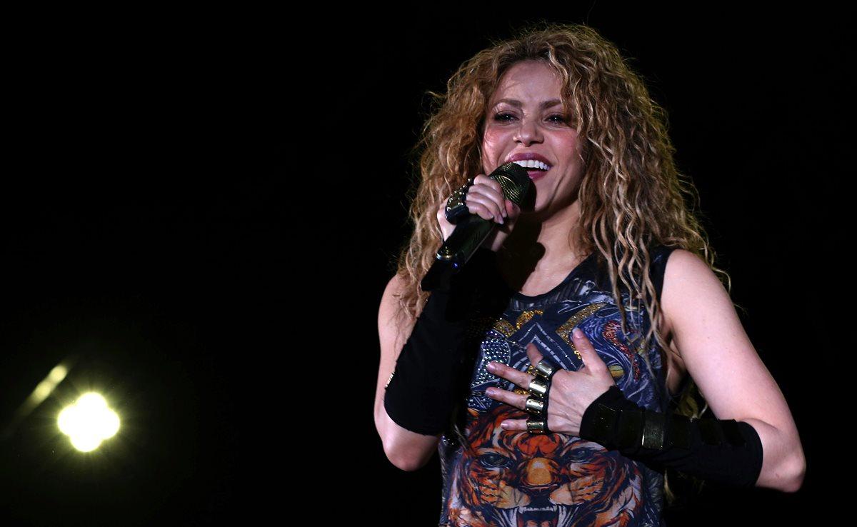 La cantante colombiana Shakira, durante el concierto que ofreció el viernes en el Cedars International Festival 2018, en Líbano. (Foto Prensa Libre: EFE).