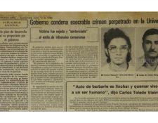 Nota de prensa del 12/6/1980 sobre estudiante baleado y presunto agresor linchado. (Foto: Hemeroteca PL)