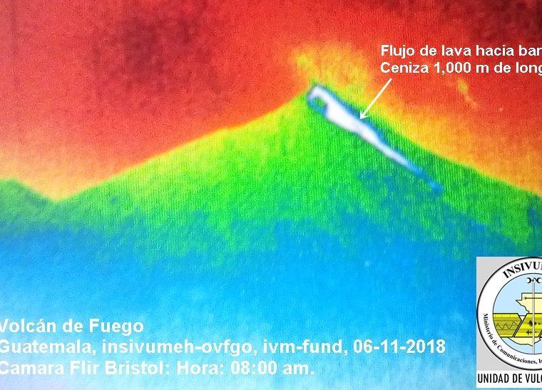 Flujo de lava de mil kilómetros de longitud que desciende hacia la barranca Ceniza. (Imagen: Insivumeh/Universidad de Bristol)