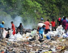 Familias completas se dedican a recolectar desechos, en el basurero del cantón Cabañas, en la cabecera de Retalhuleu. (Foto Prensa Libre: Jorge Tizol)