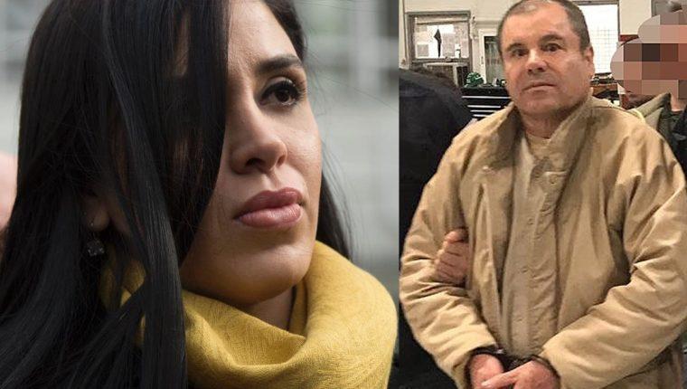 Emma Coronel (a la izq.) y su esposo, el Chapo Guzmán, se vieron el viernes en la corte. (Fotos Prensa Libre: AFP).