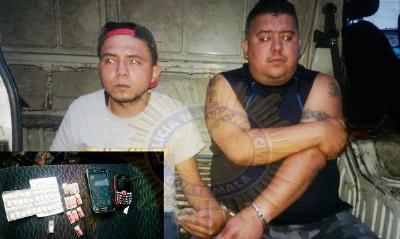 Yeltsin Espinoza y Marvin García fueron detenidos en La Florida. (Foto Prensa Libre: PNC)
