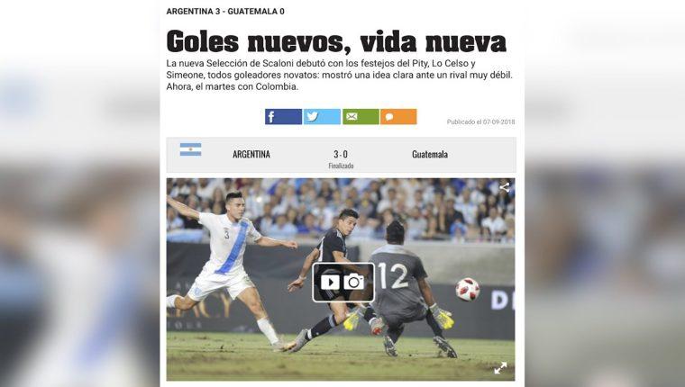 Así tituló el Diario Olé en su sitio web al referirse en el partido Argentina vs Guatemala. (Foto Prensa Libre: Redes)