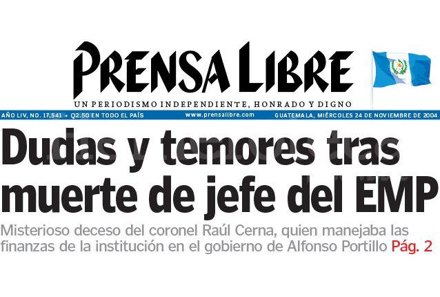 Titular de Prensa Libre del 24/11/2004. (Foto: Hemeroteca PL)