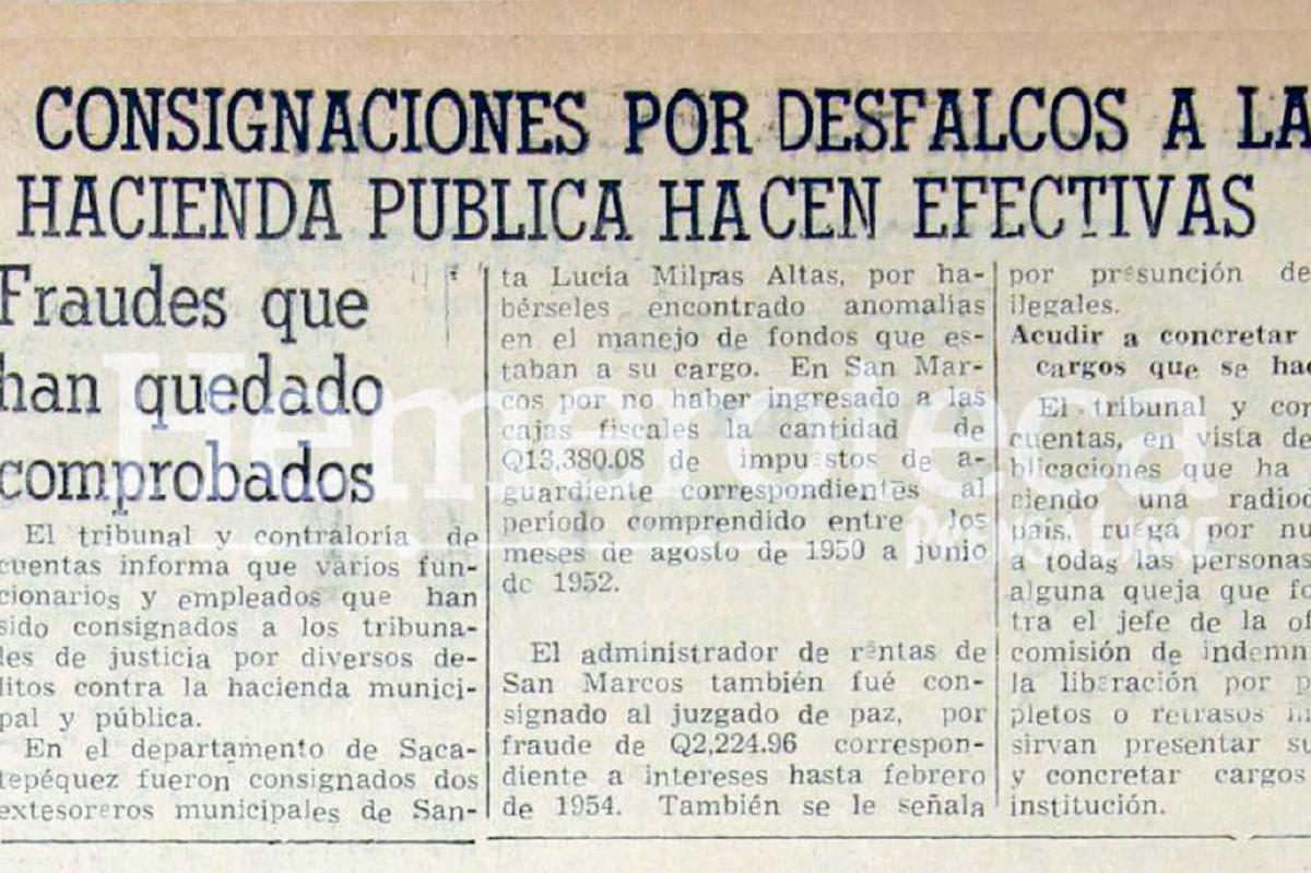1955: Funcionarios consignados a tribunales por peculado