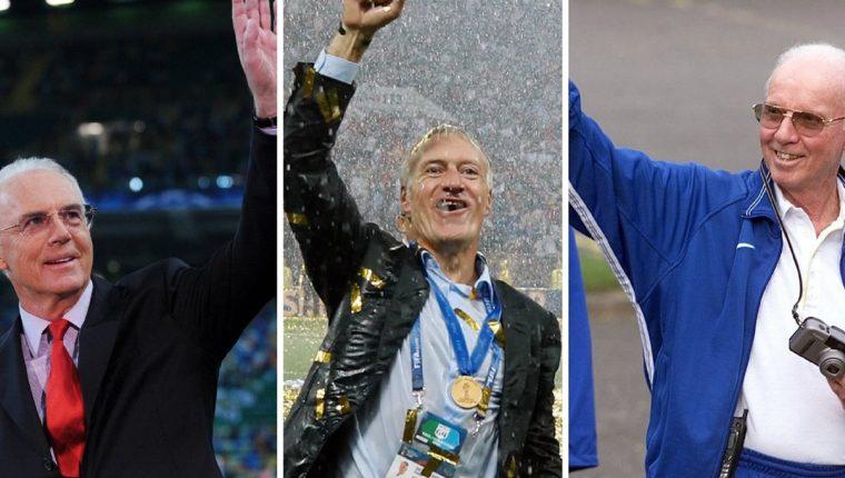 Franz Beckenbauer, Didier Deschamps y Mario Zagallo forman parte del club de los que han ganado el Mundial como jugadores y entrenadores. (Foto Prensa Libre: AFP)