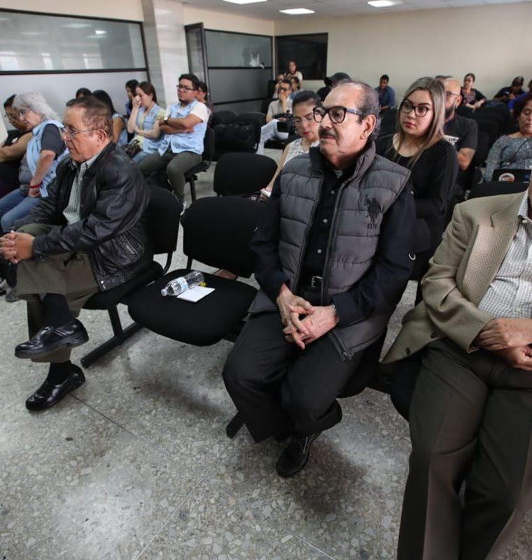 Los militares retirados en la audiencia de reparación del caso Molina Theissen. (Foto Prensa Libre: Paulo Raquec)