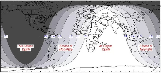 """Este gráfico de la Nasa elaborado por el experto en eclipses Fred Espenak muestra detalles y proyecciones de visibilidad para este eclipse de """"luna de sangre"""". (Fred Espenak / Nasa)"""