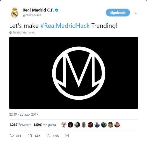 Otro de los tuits publicados por los hackers en la cuenta del Real Madrid. (Foto Prensa Libre: Twitter).