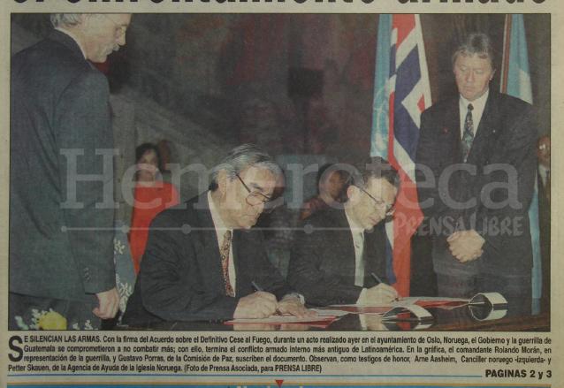 1996: se firma el acuerdo de cese al fuego