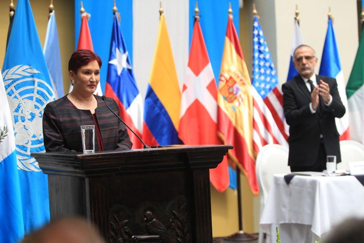 La fiscal general destacó los logros en conjunto que el Ministerio Público ha tenido con la Cicig. (Foto Prensa Libre: Esbin García)