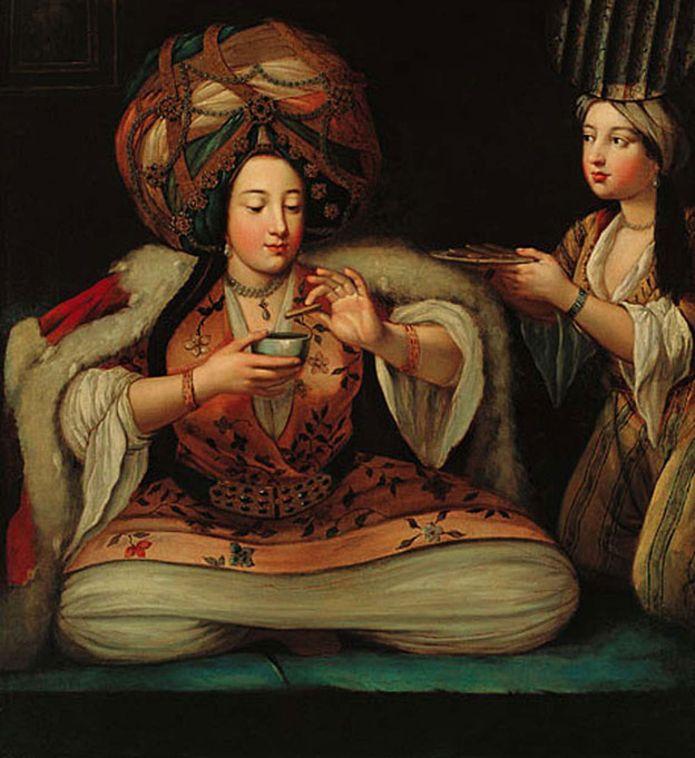 """Las mujeres en los harenes no eran """"turcas"""". (""""Disfrutando café"""", pintura de autor desconocido que está en el Museo Pera en Turquía)"""