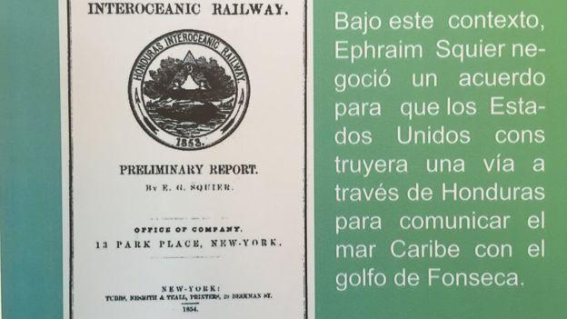 Portada del Reporte Preliminar sobre el Ferrocarril Interoceánico por Honduras de E.G. Squier, publicado en 1854. La idea está volviendo a ser considerada por el actual gobierno de Honduras.