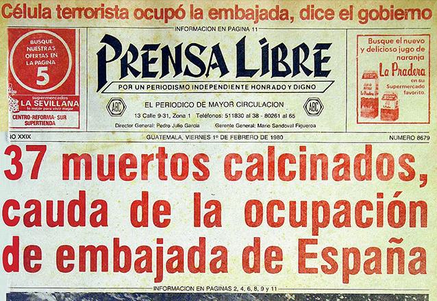 Titular de la portada de Prensa Libre del 1/2/1980 informando sobre la masacre de la embajada de España en Guatemala. (Foto: Hemeroteca PL)