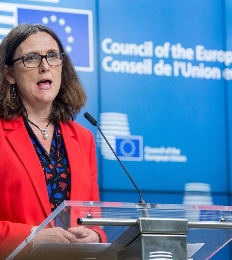Cecilia Malmström, comisaria europea de Comercio, dijo que no cree que Estados Unidos prolongue una vez más la exención europea a sus aranceles. (Foto Prensa Libre: EFE)